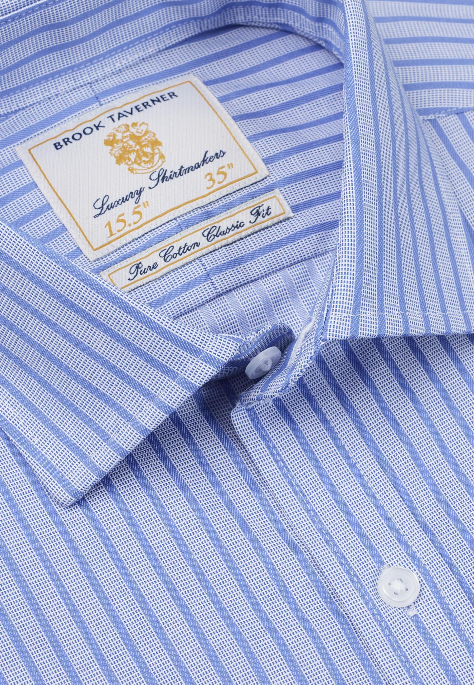 Classic And Tailored Fit Navy And Blue Stripe Single Cuff Shirt