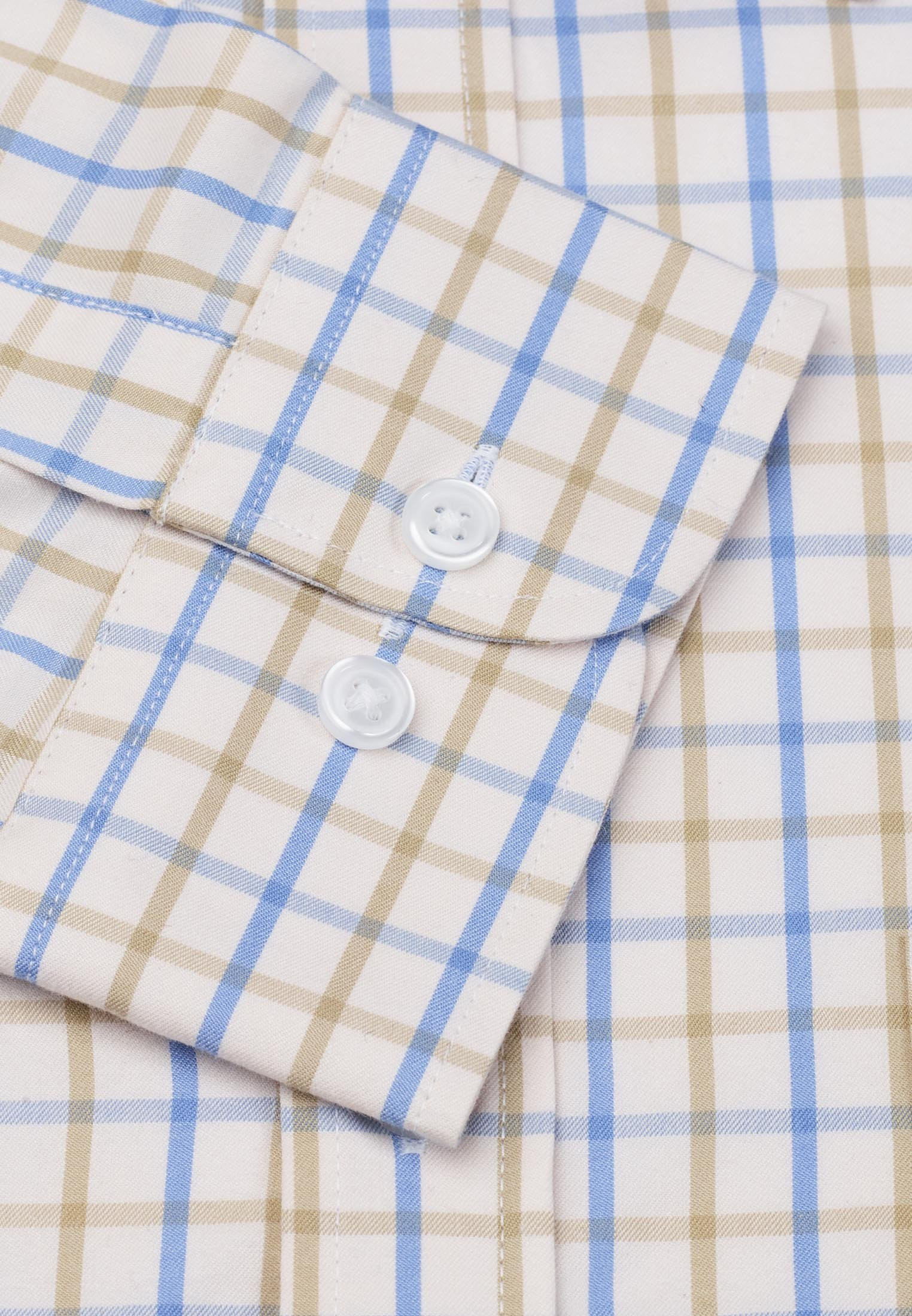 Short, Regular And Long Sleeve Blue And Sand Grid Check Long Sleeve Single Cuff Shirt