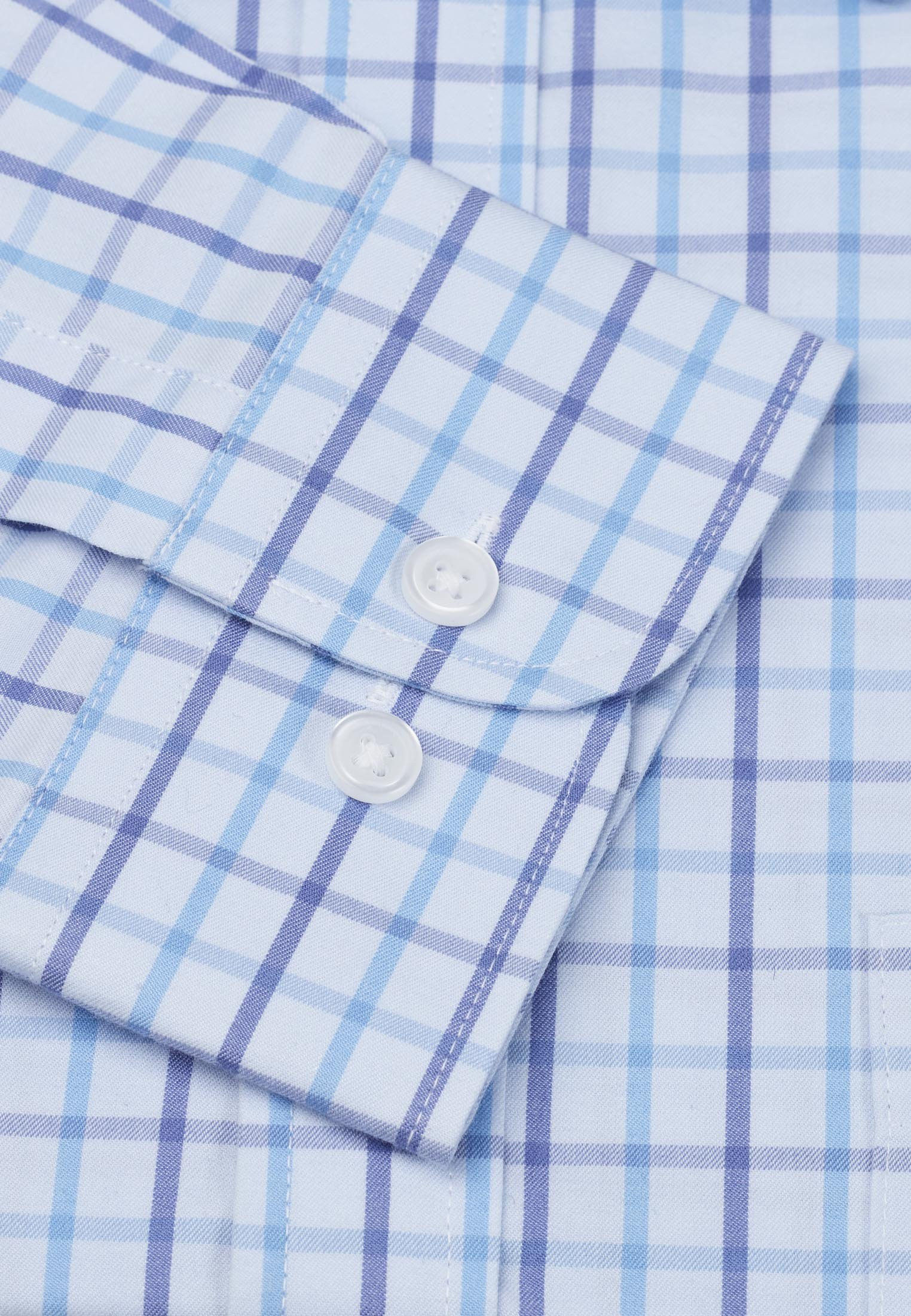 Short, Regular And Long Sleeve Sky Blue With Navy And Blue Check Long Sleeve Single Cuff Shirt