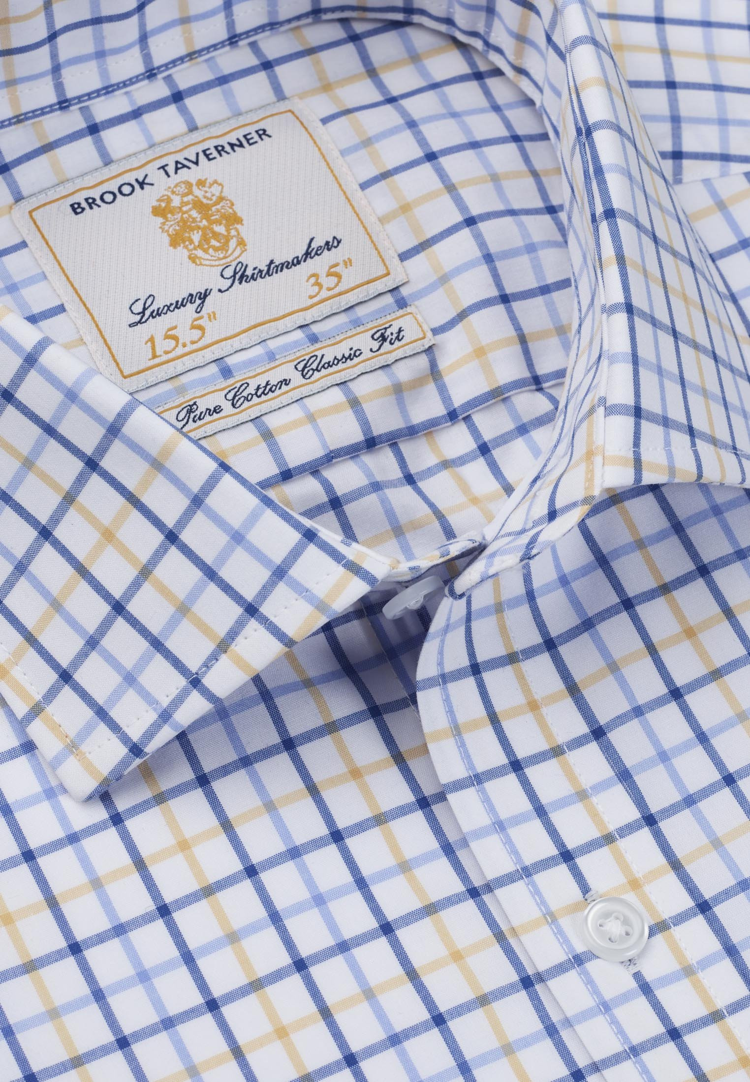Long And Short Sleeve Navy, Blue And Yellow Neat Check Shirt