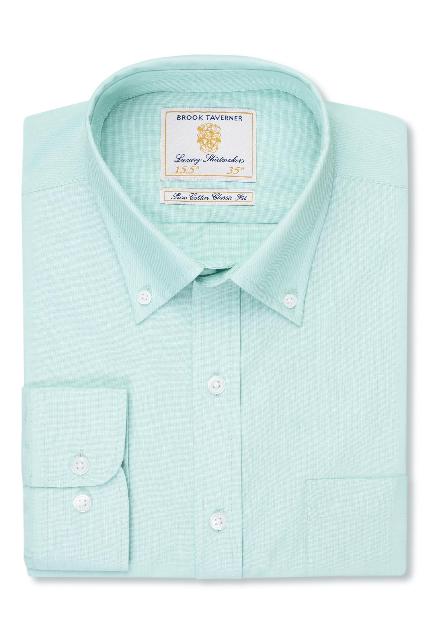 Long Sleeve Mint End On End Button Down Collar Shirt