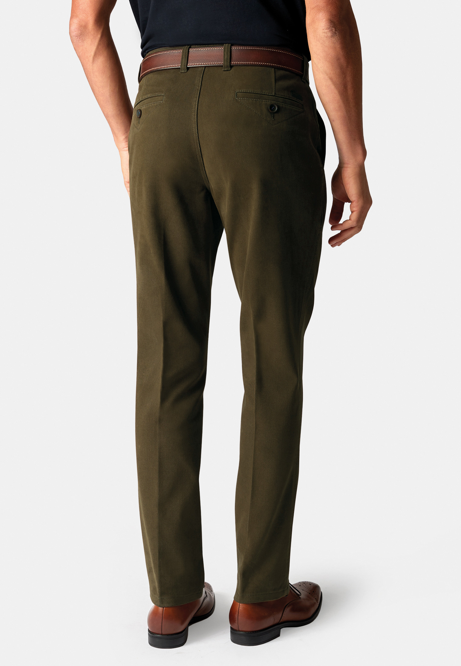 Seychelles Olive Classic and Tailored Fit Winter Weight Cotton Twill Trouser