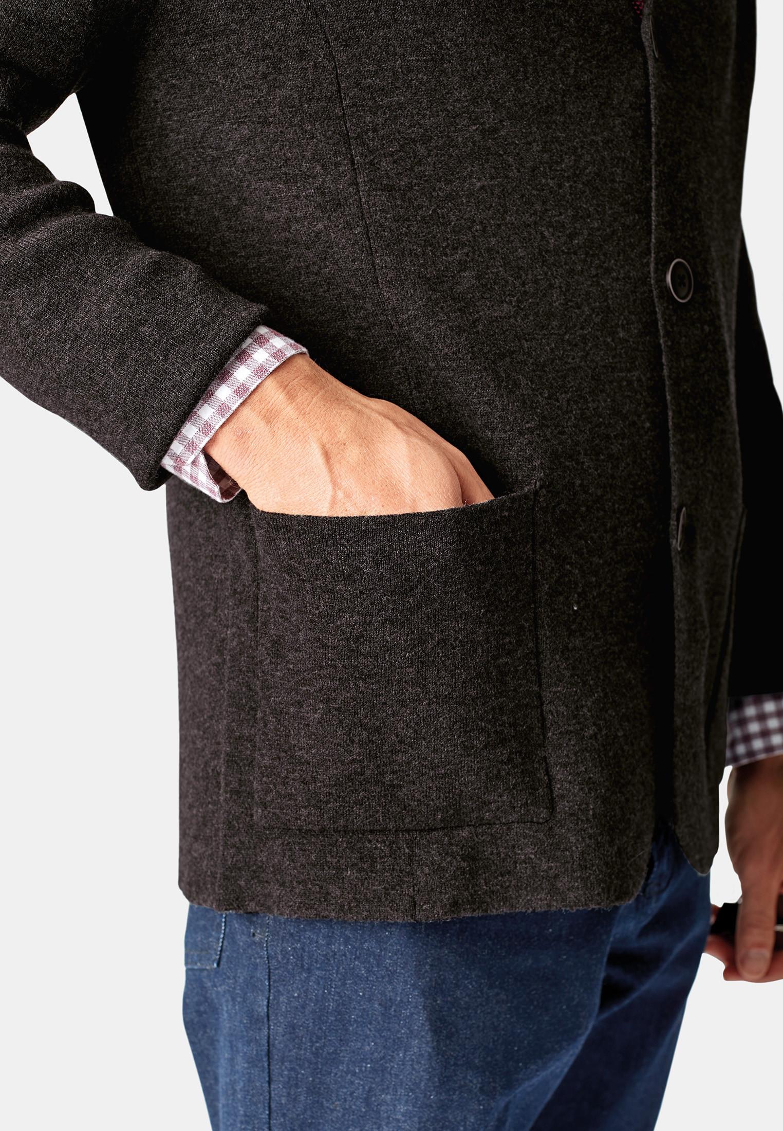 Shanklin Charcoal 12 Gauge Lapel Collar Button Through Cardigan