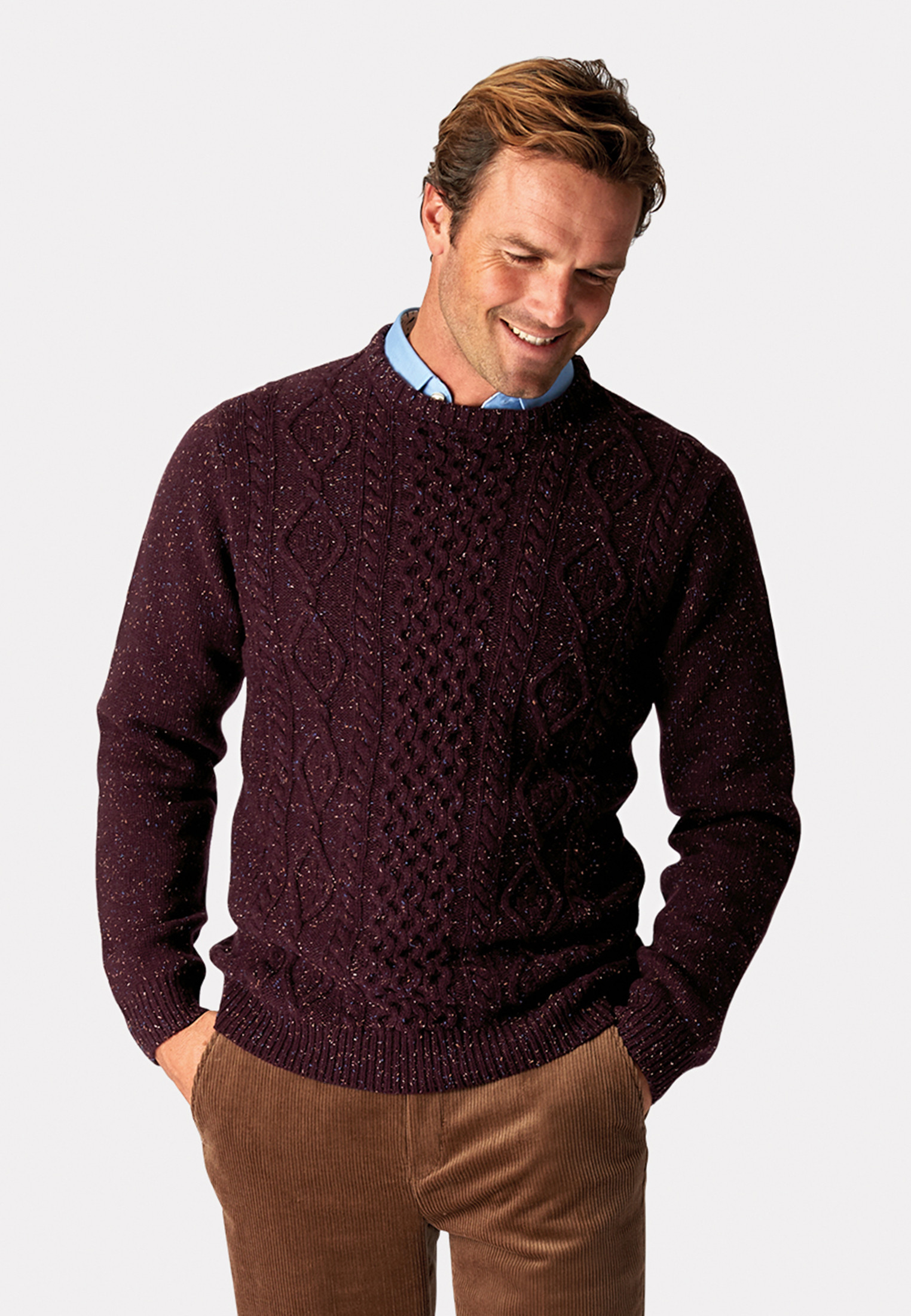 Stanbury Grape Nep 5 Gauge 'Traditional' Aran Cable Front Jumper