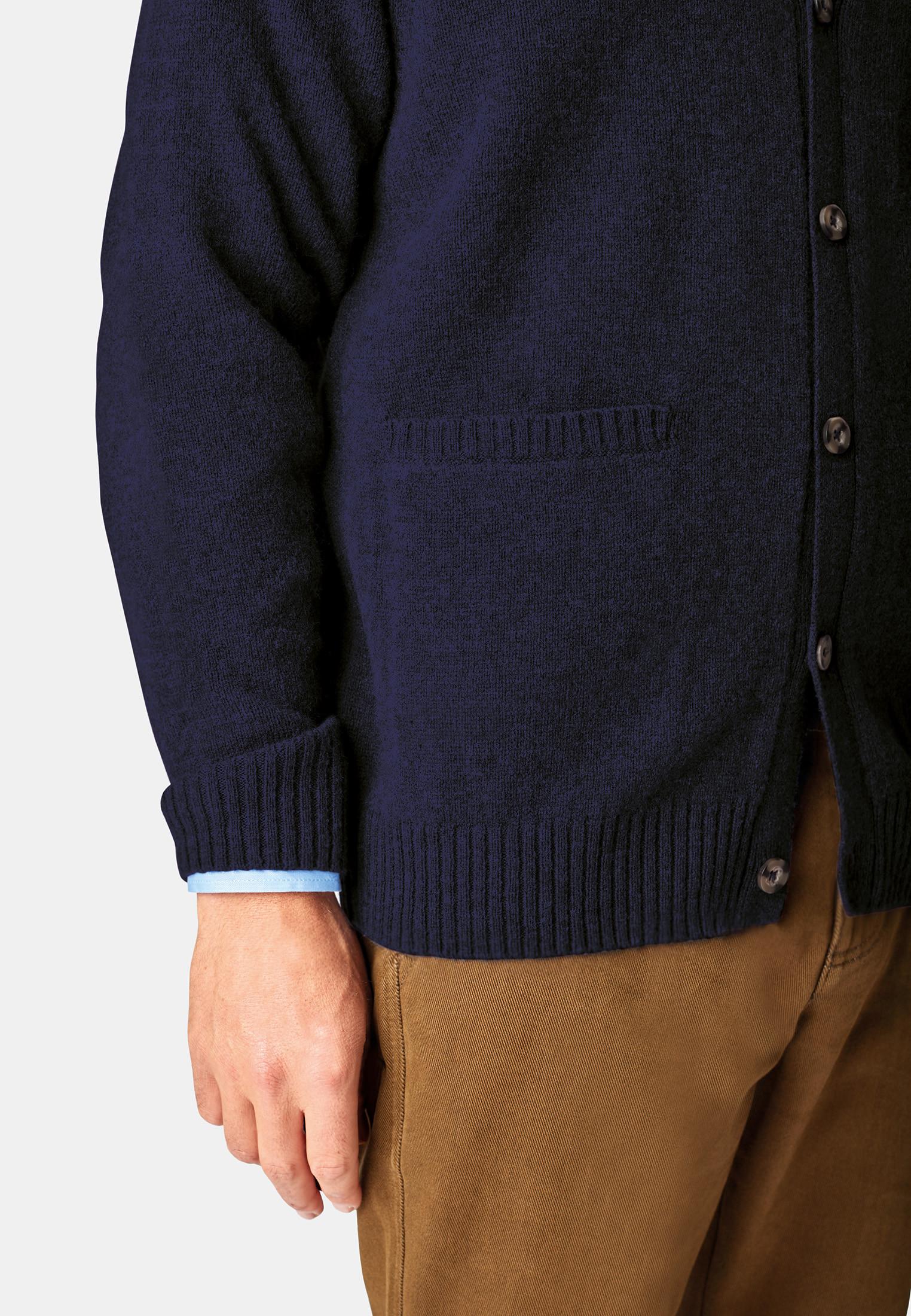 Tatham Navy Lambswool 7 Gauge Button Through Cardigan