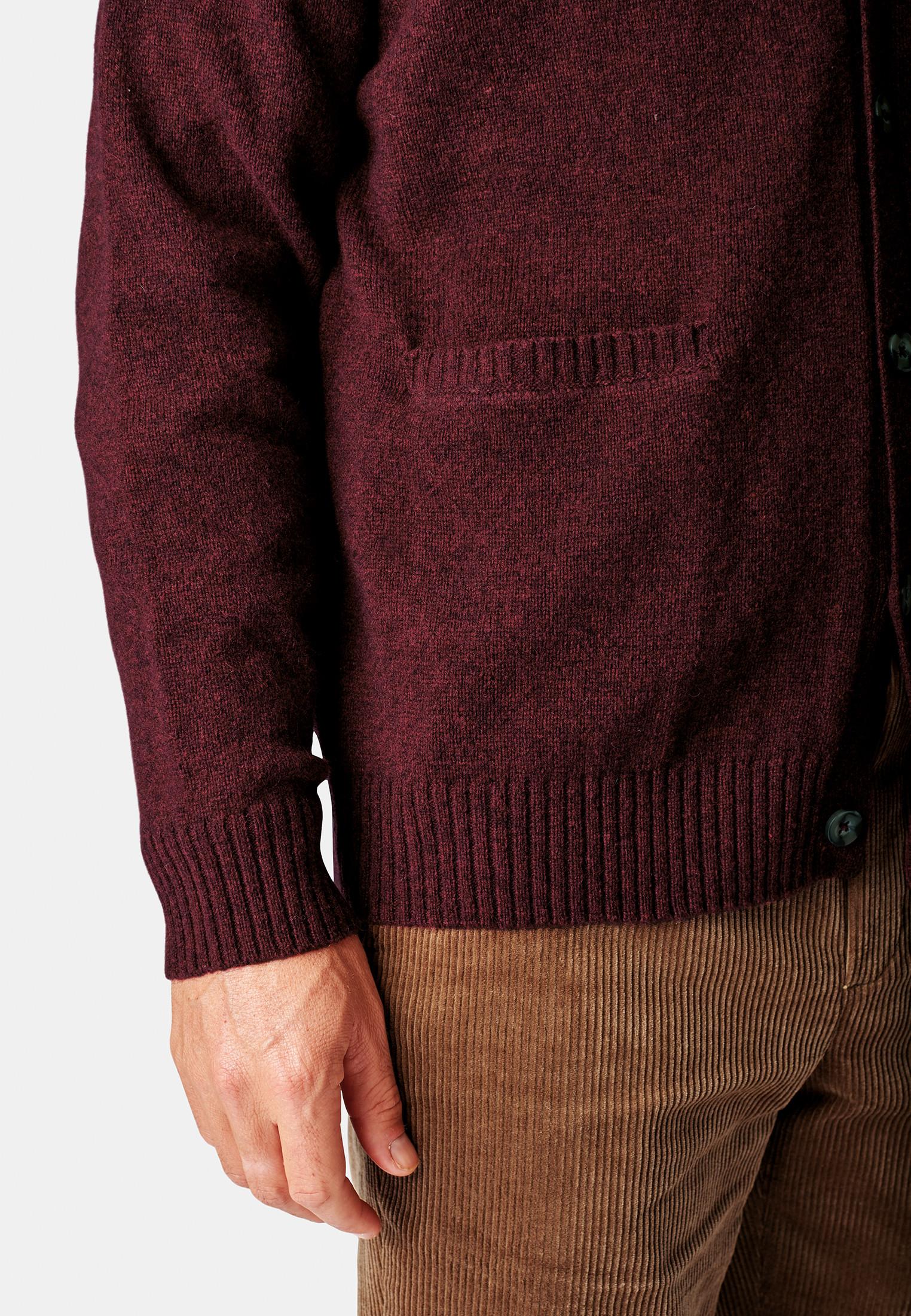 Tatham Wine Lambswool 7 Gauge Button Through Cardigan