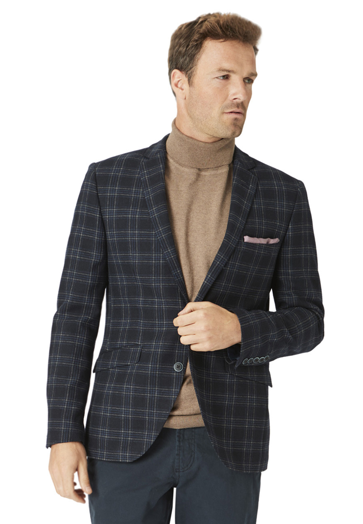 Yew Navy Check Fashion Fit Jacket