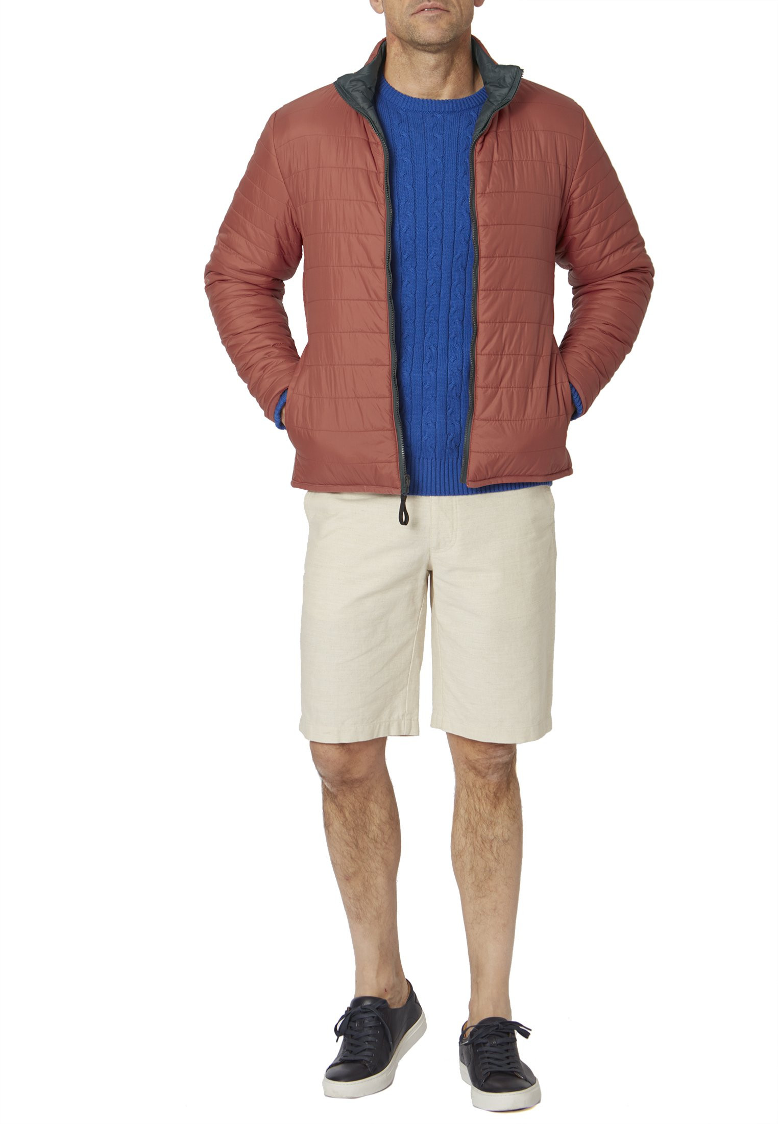 Babbage Blue And Ruby Reversible Quilted Casual Jacket