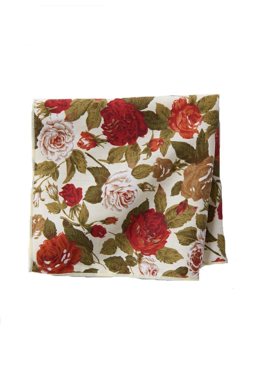 Red Rose Cotton Pocket Square