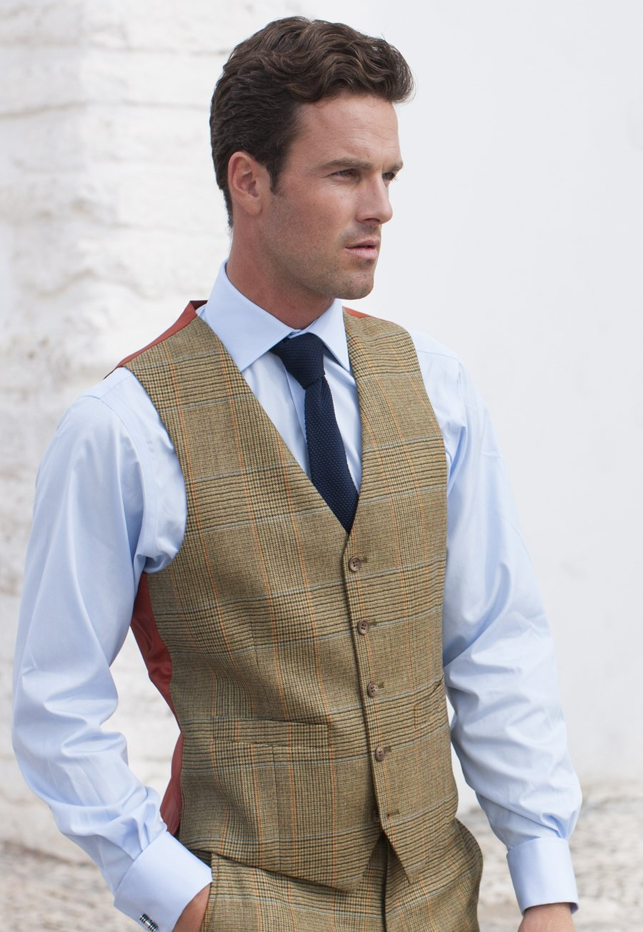 Three-Piece Dollis Summer Tweed Check Suit Waistcoat £100.00 AT vintagedancer.com
