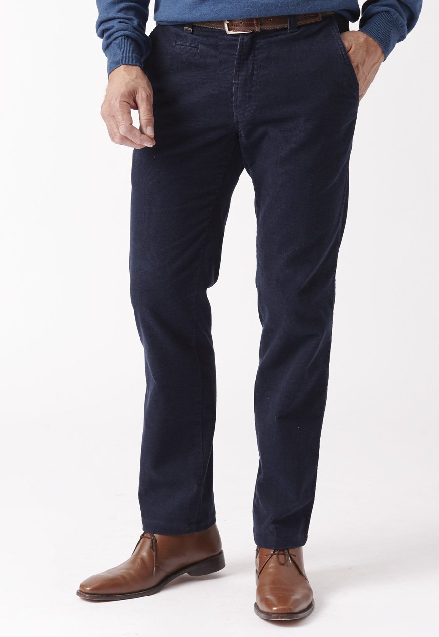 Navy Finningley Tailored Leg Cord