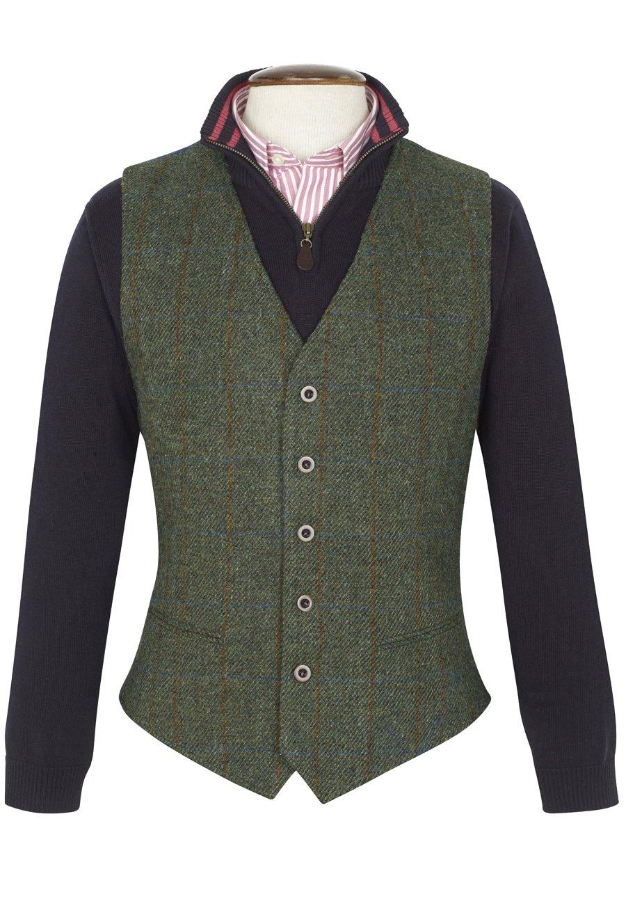 Men's Vintage Inspired Vests Finsbay Harris Tweed Waistcoat £160.00 AT vintagedancer.com
