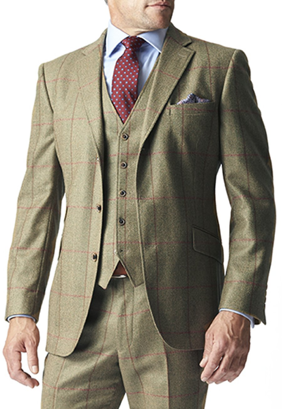 1920s Mens Suits Hewett Three Piece Tweed Check Suit Jacket £300.00 AT vintagedancer.com
