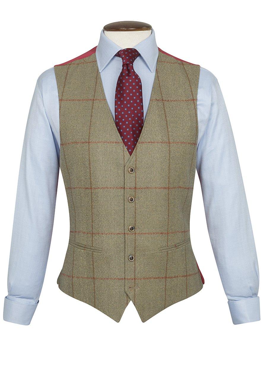 Men's Vintage Inspired Vests Hewett Three Piece Tweed check Suit Waistcoat £140.00 AT vintagedancer.com