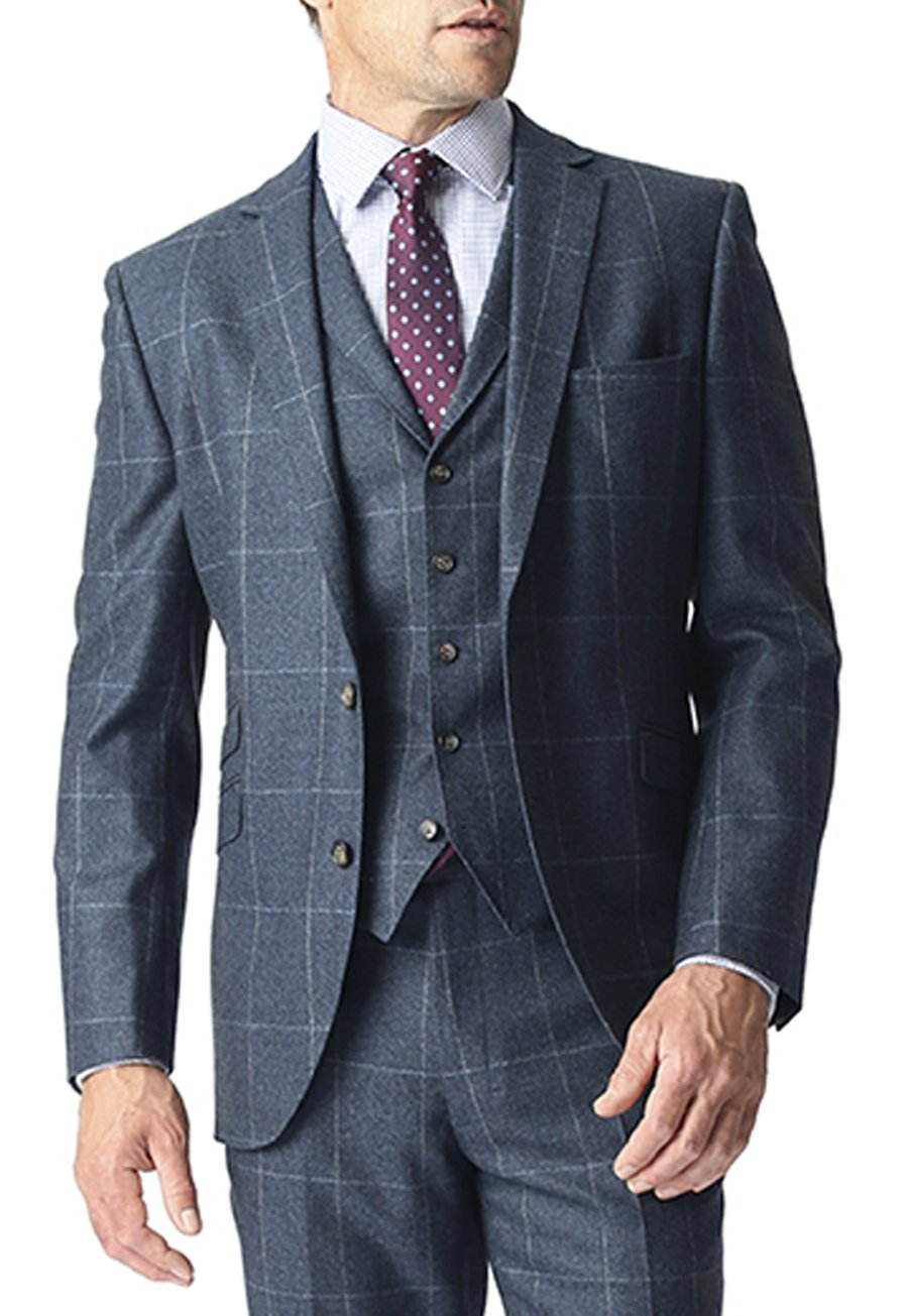 1920s Mens Suits | Gatsby, Gangster, Peaky Blinders Howley Three Piece Wool Check Suit Jacket £300.00 AT vintagedancer.com