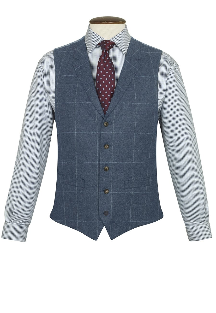 Men's Vintage Inspired Vests Howley Three Piece Wool Check Suit Waistcoat £120.00 AT vintagedancer.com