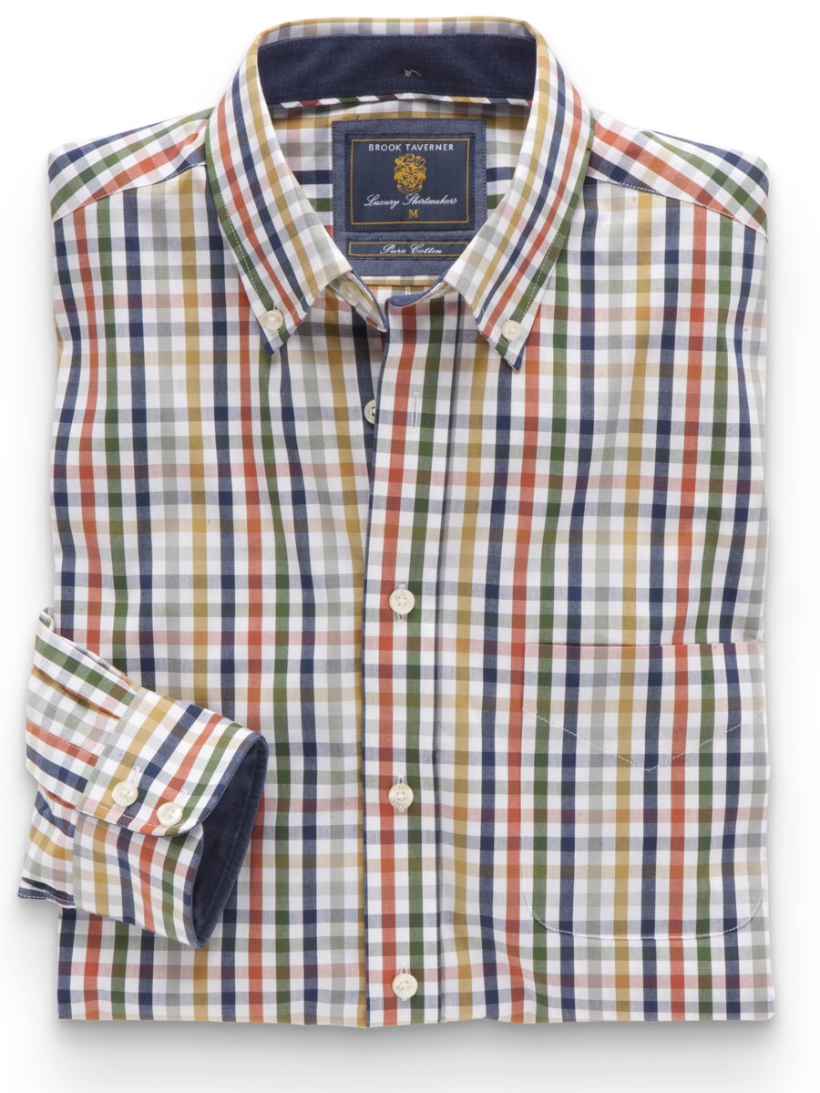 Navy, Apricot and Green Check Shirt