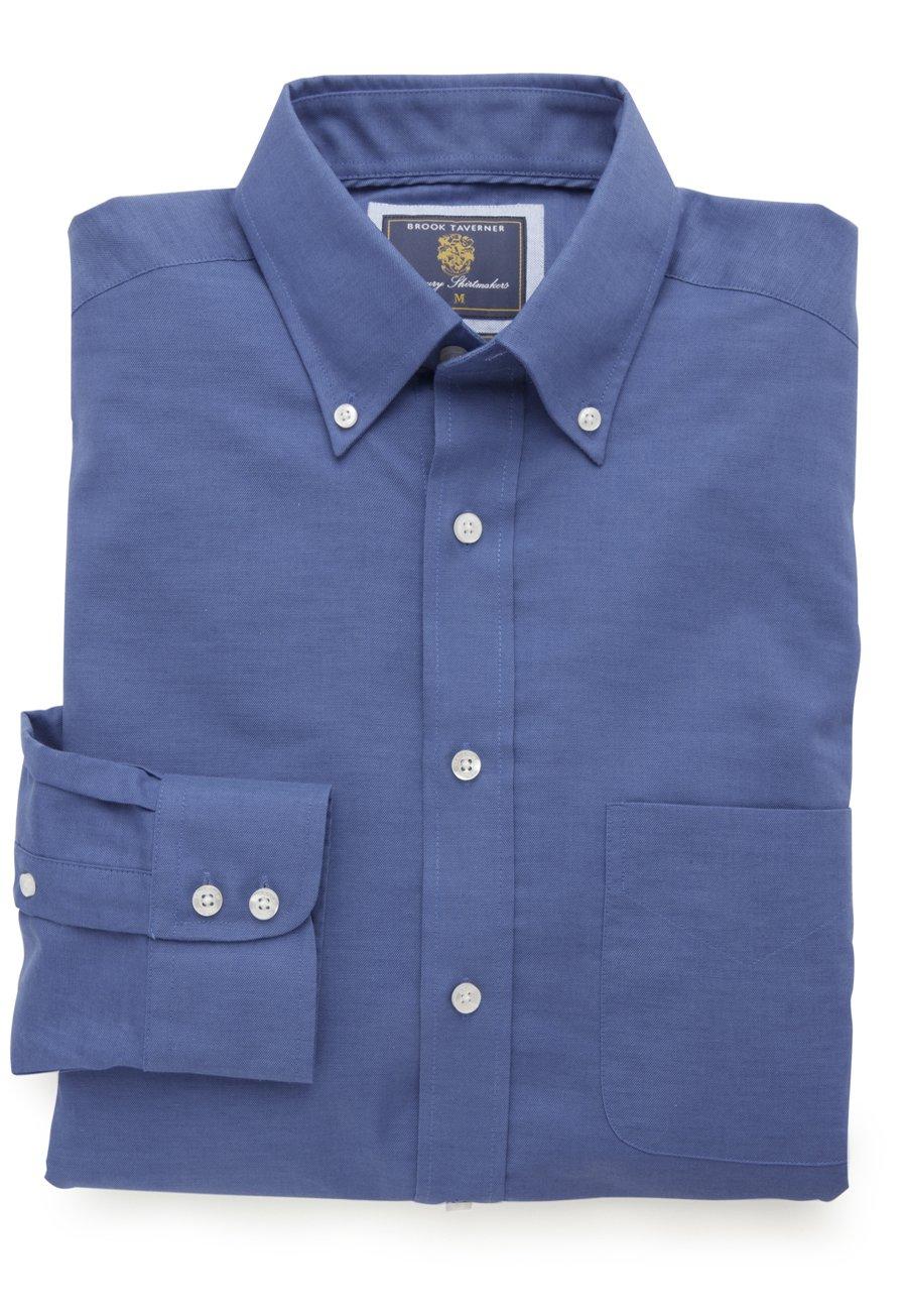 Image of Navy Cotton Oxford 100% Easycare Button Down Collar Shirt