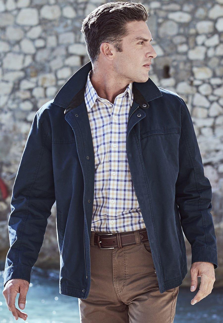 Navy Peters Cotton Harrington Jacket