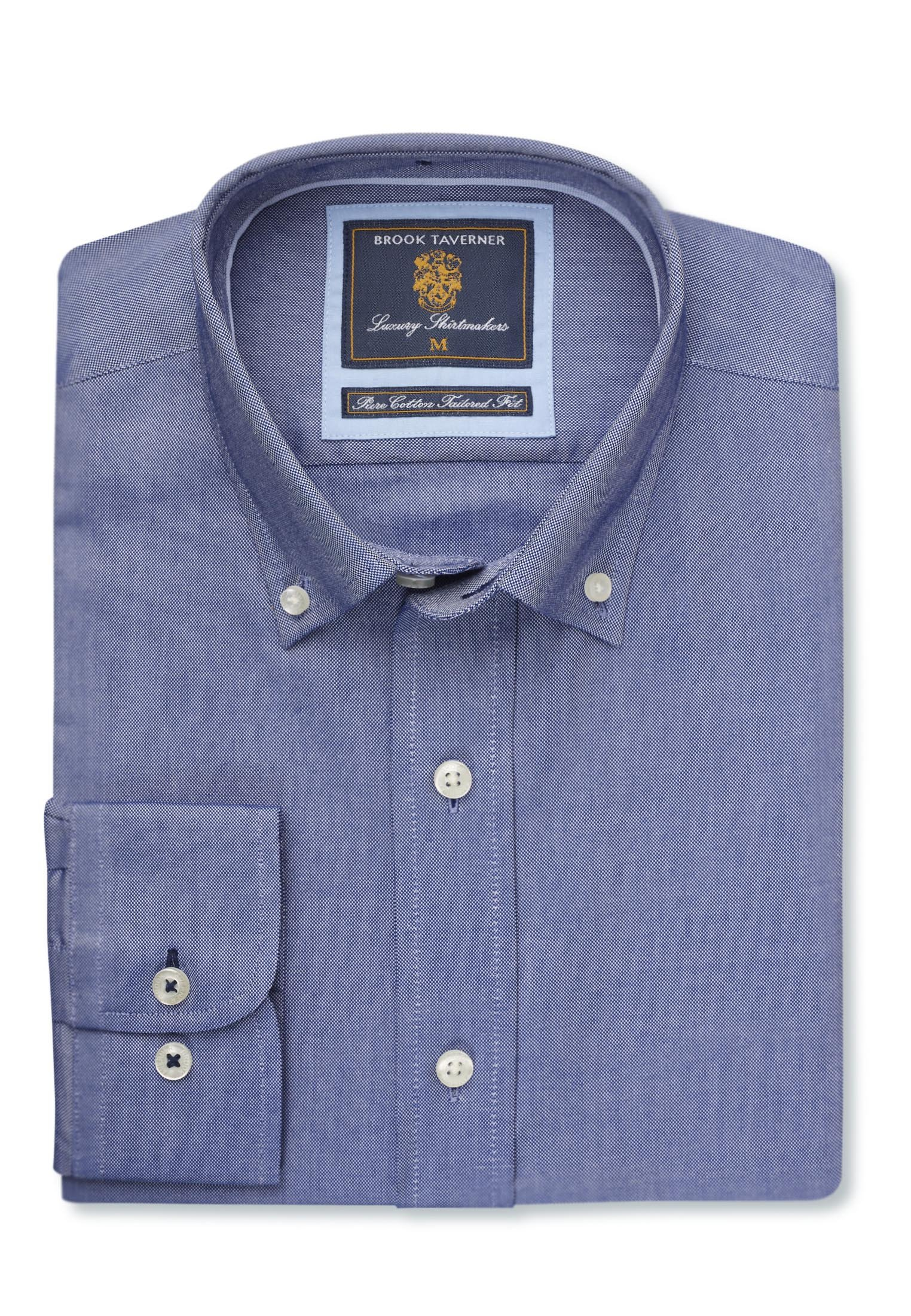 Classic And Tailored Fit Navy Soft Oxford Button Down Collar Shirt